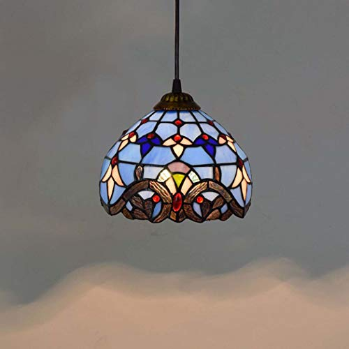 (DSHBB Tiffany Style Chandeliee,20CM 8 Inch Blue Baroque Mediterranean Creative Stained Glass Pendant Light,Living Room Decoration Pendant Lamps)
