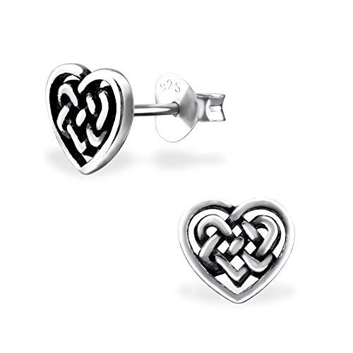 Cute Sterling Silver Celtic Knot (925 Sterling Silver Hypoallergenic Celtic Knot Heart Stud Earrings for Girls 31608)