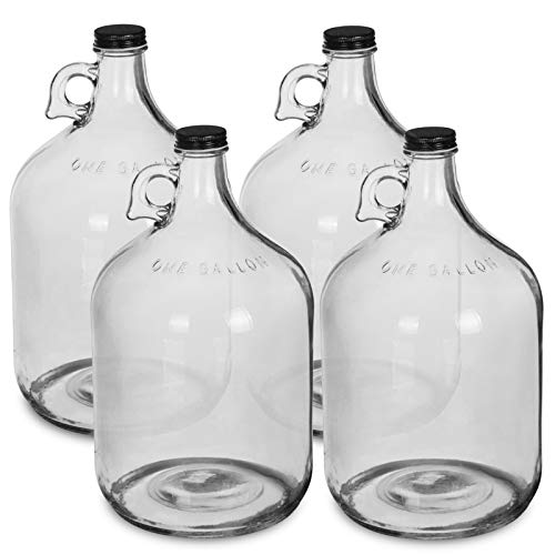 1 Gallon Glass Water Bottle Jug with 38 mm Screw Cap (4) ()
