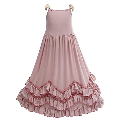 Girls Ruffles Maxi Dress Pink Color Halter Lace Fly Sleeve Cotton Party Dress Skirts (Pink, 7T)