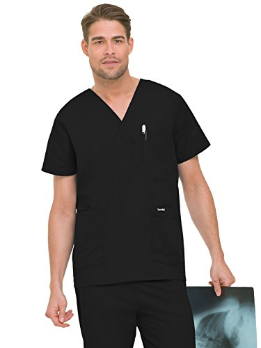 Pocket Scrub Top (Landau 7489 Men's 5-Pocket Scrub Top Black Large)