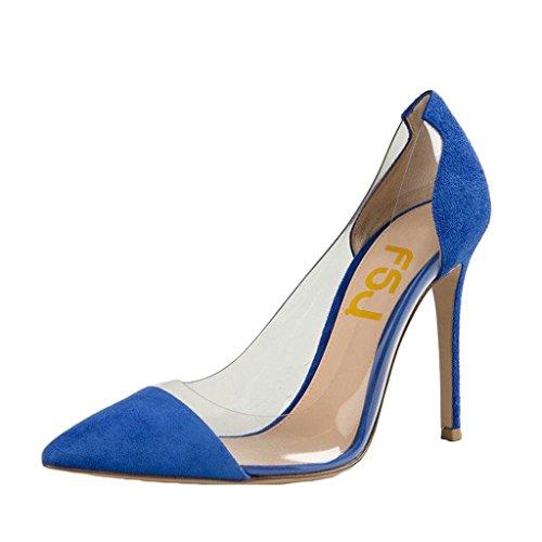 Fsj Donna Elegante Stiletto Trasparente Pompe Tacchi Alti Slip On Party Wedding Dress Shoes Size 4-15 Us Blue
