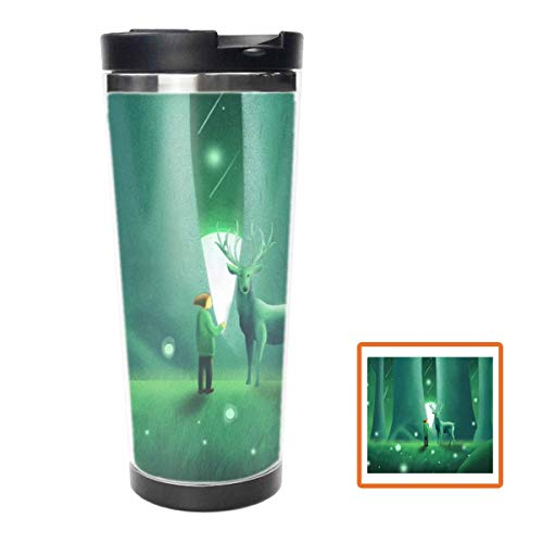 Green Fluorescent Elk Water Bottle Stainless Steel Insulated Travel Coffee Mug,16oz, Double Wall Travel Tumbler Perfect for Hiking, Camping & Traveling