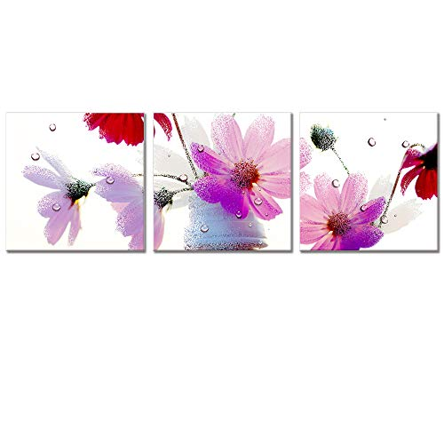 Visual Art Decor Elegant Pink and Purple Flowers Canvas Wall Art Floral Prints Framed and Stretched Picture Ready to Hang for Living Room Bedroom Home Office Decoration