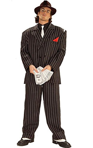 [Forum Novelties Roaring 20's Chicago Gangster Costume, Black, Standard] (Gangster Man Zoot Suit Adult Costumes)