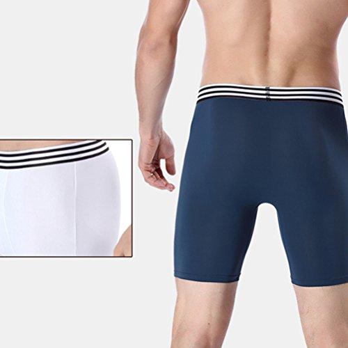 Zhhlinyuan Calzoncillos deportivos para hombres Soft Ice Silk Extra Long Leg Boxer Shorts Anti-Wear Legs Underwear 3IOrdyx