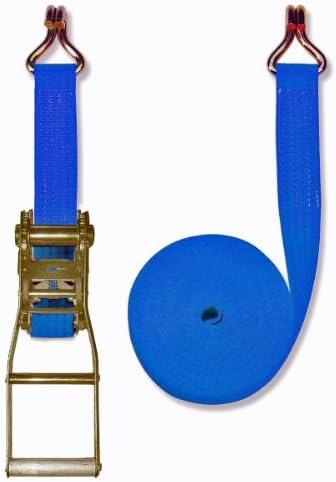 2 Pezzi Cinghia 5000 Dan Braun Lunghezza 8 m con Dente di Arresto e Triangolo Larghezza 50 mm Colore: Rosso