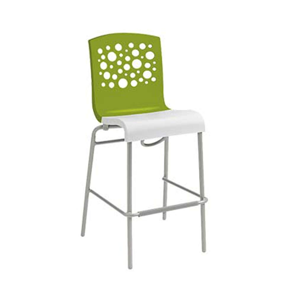 Grosfillex US838152 Tempo Stacking Barstool, Fern Green with White Seat (Case of 2)