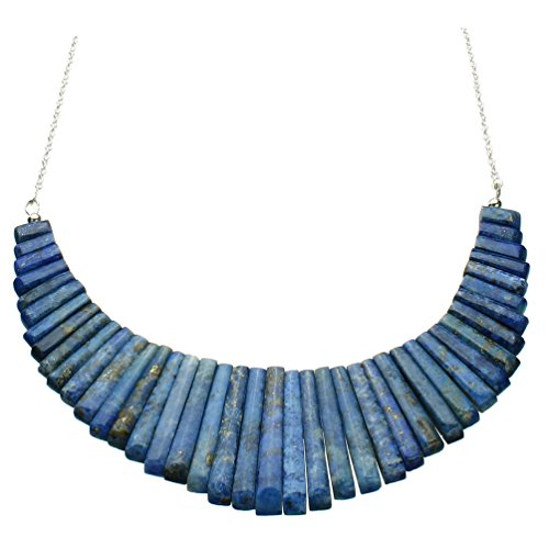 Blue Lapis Stone Fan Dagger Bib Sterling Silver Cable Chain Necklace 18 Inch
