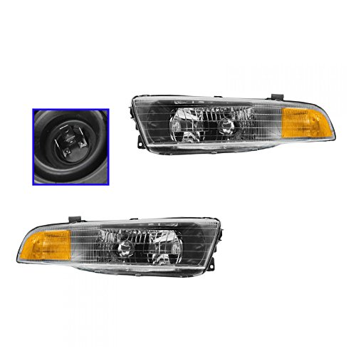 Headlights Headlamps Left & Right Pair Set for 02-03 Mitsubishi Galant