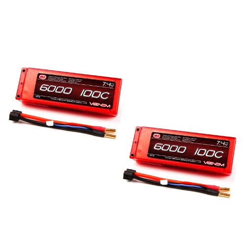 Venom 100C 2S 6000mAh 7.4V LiPo Battery Hard Case ROAR with Universal Plug (EC3/Deans/Traxxas/Tamiya) x2 Packs