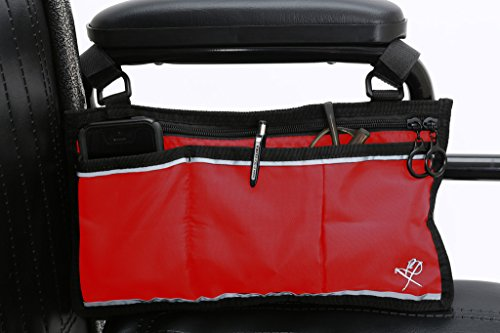Pembrook Wheelchair Side Bag - Red - Great Accessory for your mobility devices. Fits most Scooters, Walkers, Rollators - Manual, Powered or Electric Wheelchairs