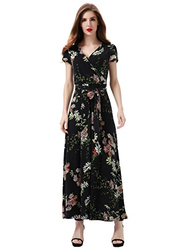 Aphratti Women's Bohemian Short Sleeve V Neck Faux Wrap Vintage Maxi Dress Large Black Floral