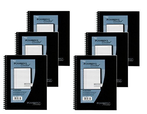Mead Cambridge Wirebound Business Notebook, Legal Rule, 6 5/8 x 9 1/2 Inches, 1 Subject, White, 80 Sheets per Pad (06672) Pack Of 6 Mead Wirebound Notebook