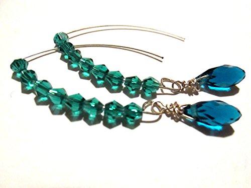 Briolette Hoop Crystal Earrings (Teal glass crystal half hoop earrings)