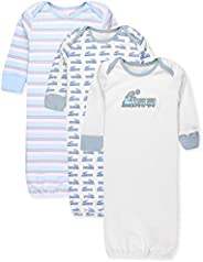 Maybe Baby Kids Infant Boys' and Girls' 3 Pack Set Cotton Baby Nightgowns w/Mitten Cuffs, 0-