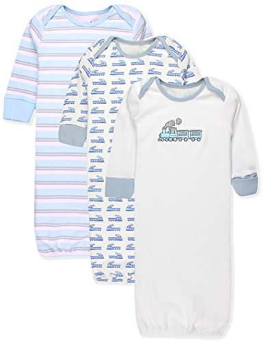 - Maybe Baby Kids Infant Boys' and Girls' 3 Pack Set Cotton Baby Gowns w/Mitten Cuffs & Easy Change Expandable Shoulders, 0-6 Months, Train