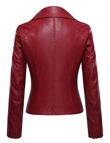 Tanming Women's Faux Leather Collar Moto Biker Short Coat Jacket (Medium, W-Red6) by Tanming (Image #1)
