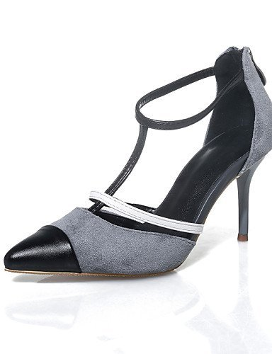 ShangYi Womens Shoes Suede Stiletto Heel Heels / Pointed Toe Sandals Party & Evening / Dress / Casual Gray(Genuine leather) gray