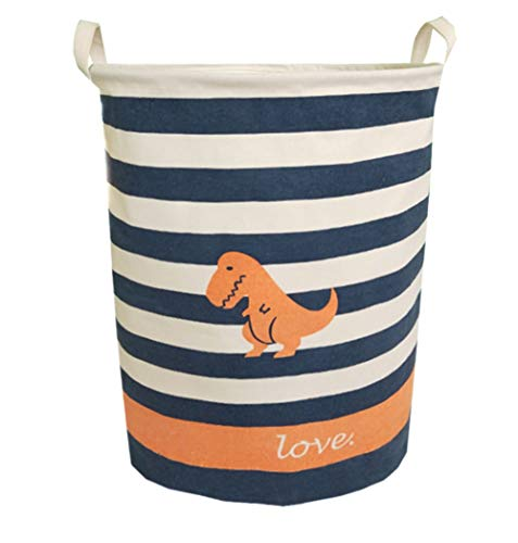 Sanjiaofen Large Storage Bins,Canvas Fabric Laundry Basket Collapsible Storage Baskets for Home,Office,Toy Organizer,Home Decor(Dinosaur) -