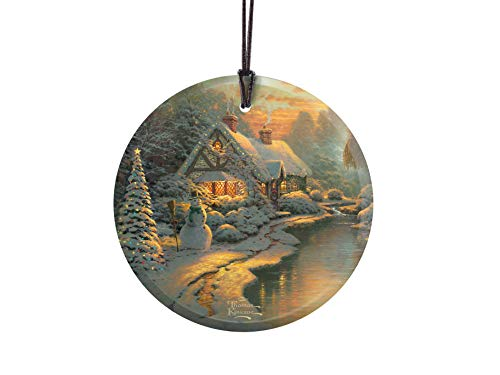 Thomas Kinkade - Christmas Evening - Starfire Prints Glass - Home and Tree Decoration - Ideal for Gifting (Print Cottage Thomas Christmas Kinkade)