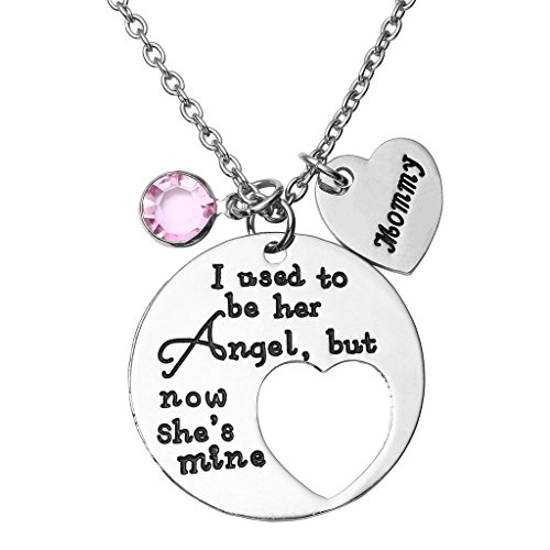 Jovivi I Used to Be His/Her Angel Now He's/She's Mine Daddy/Mommy Crysal Memorial Necklace,in Memory of Loved One Daddy/Mommy ()