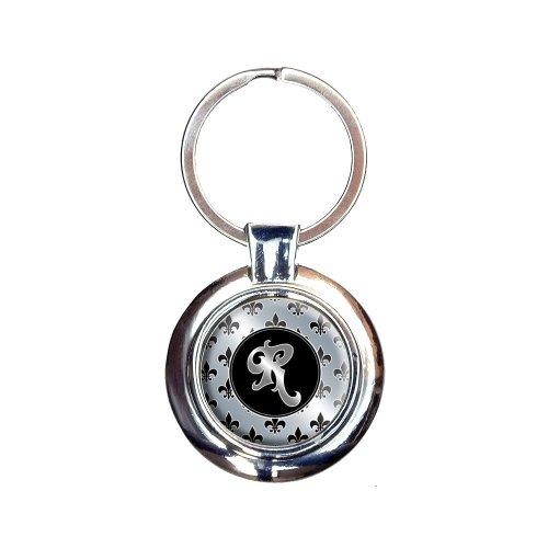 Letter R on Fleur De Lis Pattern Keychain Key Ring