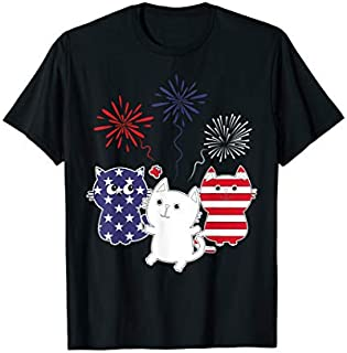 Blue White Red Cats Firework Happy 4th July Cat Lover T-shirt | Size S - 5XL