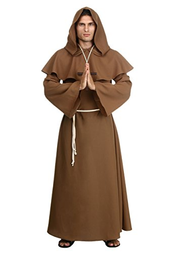 [Fun Costumes Mens Plus Size Brown Monk Robe 2x] (Brown Monk Robe Costume)