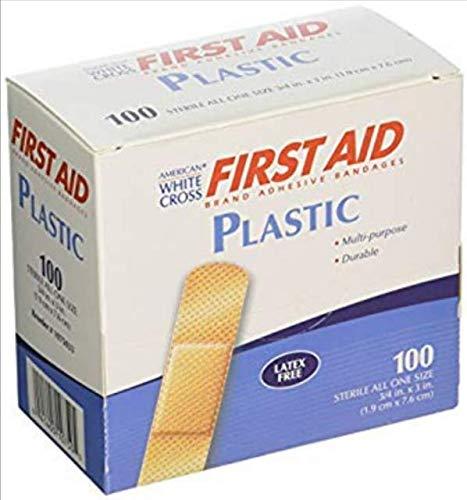 American White Cross Adhesive Bandages Plastic Strips 3//4 x 3 Box of 100