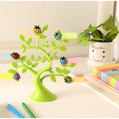 (Alpertie 1PCS Creative Adorable Tree Shape Ladybug Magnet Memo Clip Holder Display for Cards/Notes/Photos/Pictures/Placecards,Multifunctional Decoration Magnet,Green)