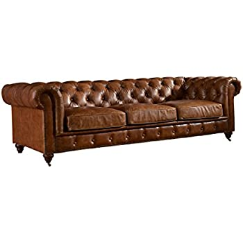Merveilleux Crafters And Weavers Top Grain Vintage Leather Chesterfield Sofa