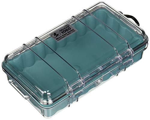 Pelican 1060-02A-100 Waterproof Case, 1060 Micro Case - for iPhone, GoPro, Camera, and More (Aqua/Clear)