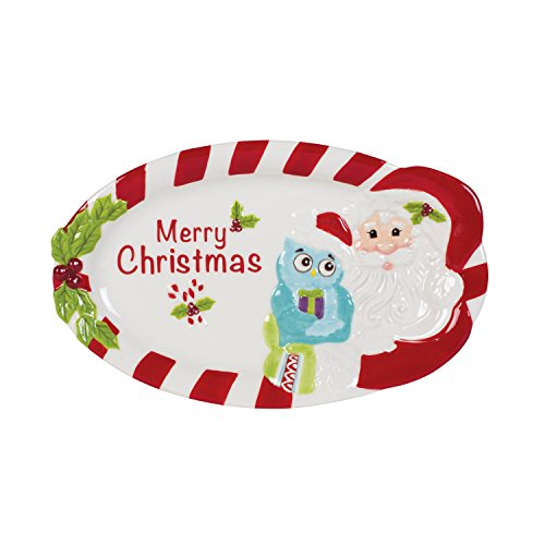 Fitz and Floyd Holiday Hoot Collection Merry Christmas Serving Tray, White