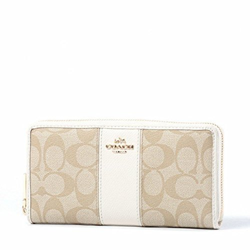 Coach F54630 Accordion Zip PVC Leather Light Khaki/Chalk Wallet by Coach