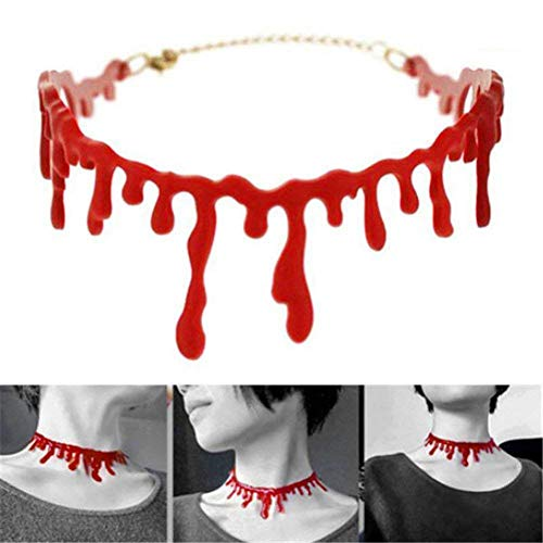 Fellibay Bloody Scar Necklace Horror Blood Drip Necklace Throat Bleeding Necklace Party Ladies Supplies for Halloween Party Adjustable 8''~15''