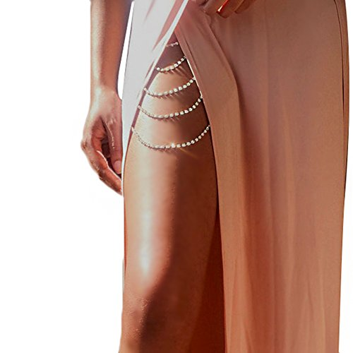 Women Sexy Bohemia Rhinestones Multi Layers Leg Thigh Chain Shiny Jewelry Beach Body Chain (Sliver Color 2)