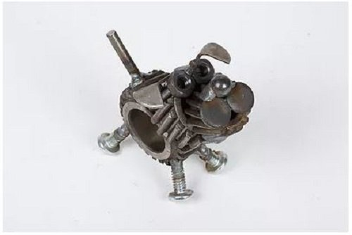 (Engine-New-Ity Upcycled Metal Sculpture Chubs the Terrier END030)