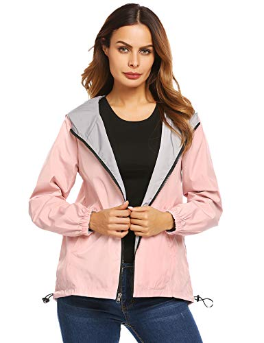 UNibelle Women's pettie Lightweight Raincoat Travel Hoodie Windproof Hiking Rain Jacket(Pink,XX-Large) ()