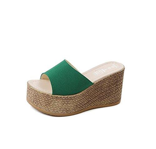 SHINIK Zapatos de mujer, sandalias de verano y chanclas sandalias de plataforma gruesa para verde, negro, beige Do