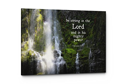 - Qutenest Christian Canvas Wall Art - Be Strong in The Lord and His Mighty Power Quote, Ephesians 6:10, Bible Verse, Religious Wall Decor - Ready to Hang (Be Strong in The Lord, 17