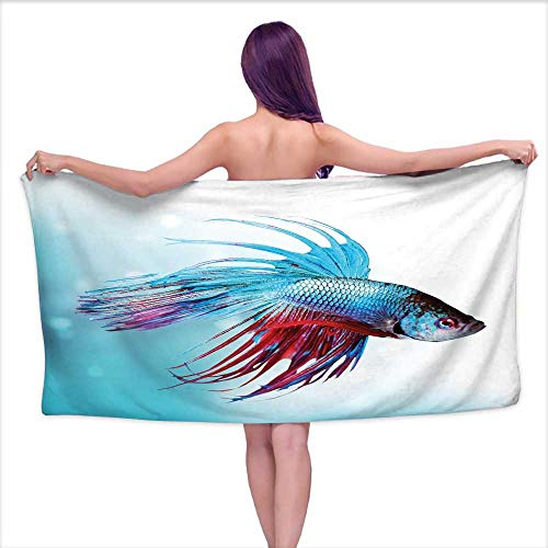Glifporia Bath Towels Extra Large Aquarium,Siamese Fighting Betta Fish Swimming in Aquarium Aggressive Sea Animal,Sky Blue Dark Coral,W28 xL55 for Bathroom Striped ()