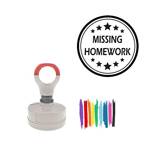 Missing Homework Round, Color Customizable Pre-Inked Rubber Office Stamp with - Missing Stamp