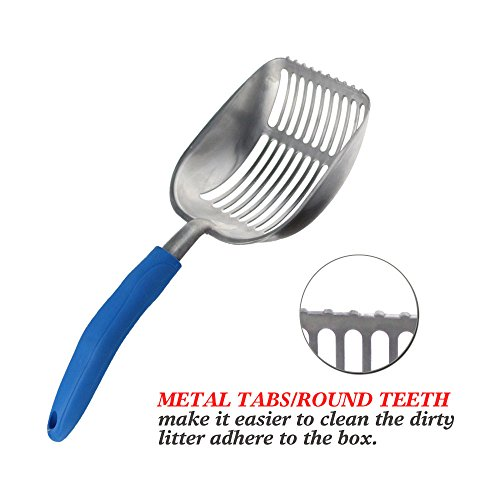 The-Latest-Update-POLISHING-Metal-Cat-Litter-Scoop-with-Blue-Handle-Giant-Aluminum-Alloy-with-TABSROUND-TEETH-Pet-Kitty-Litter-Scooper