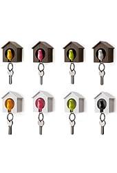 BDS - Single Sparrow Bird House Nest Whistle Key Holder Chain Ring Keyholder Keychain Keyring Hanger Rack (Pink, White House)