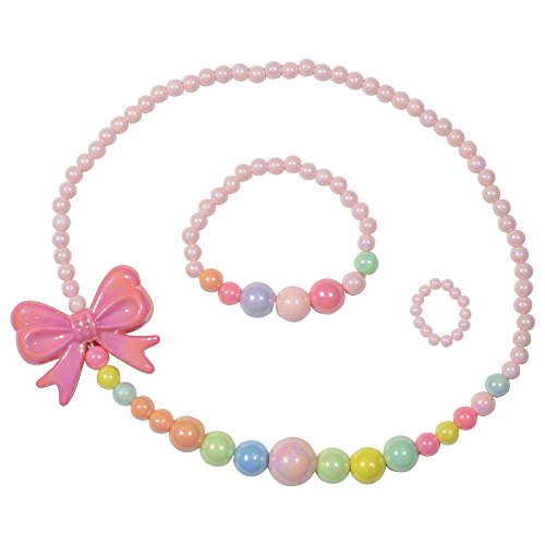 [SmitCo LLC Kids Jewelry, For Little Girls and Toddlers, Pink Stretch Bow Necklace and Bracelet Set] (Toddler Costumes Jewelry)
