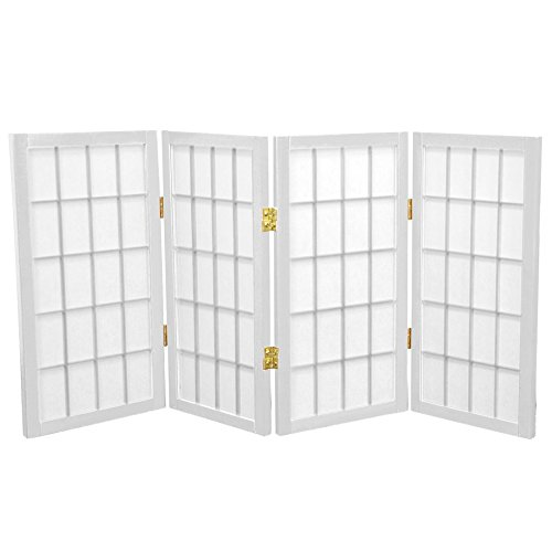 Oriental Furniture 2 ft. Tall Desktop Window Pane Shoji Screen - White - 4 Panels ()