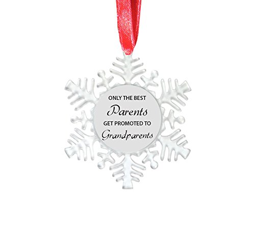 Only the Best Parents Get Promoted to Grandparents - 4-1/8-inch Clear Plastic Snowflake Ornament with Red Ribbon - Great Gift for Christmas Gift CustomGiftsNow