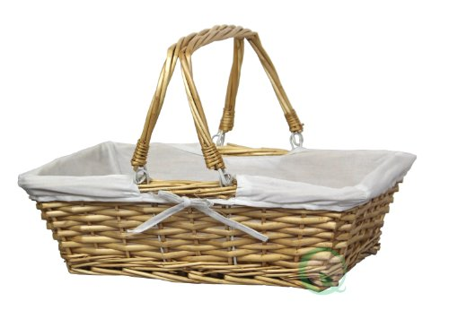 Vintiquewise(TM) Rectangular Willow Basket with White Fabric -