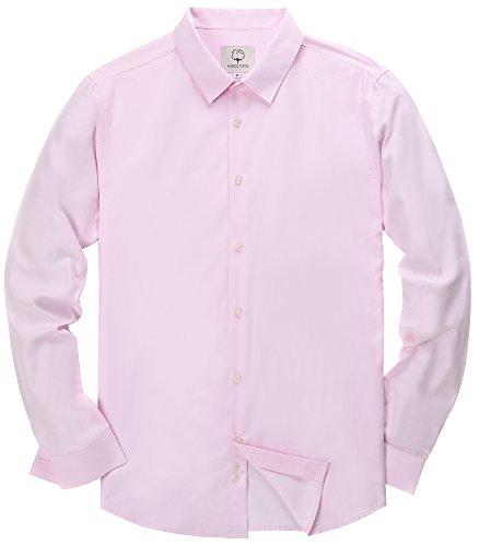 - MOCOTONO Men's Long Sleeve Formal Business Dress Shirts Pink Large